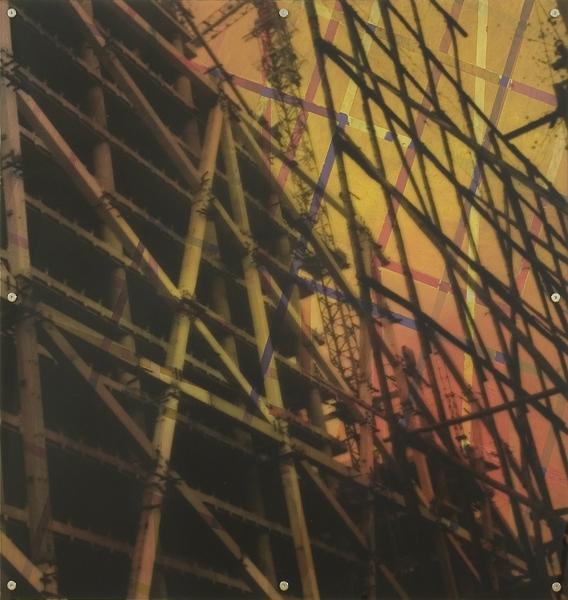 """Lost Dimension 9,  oil paint on board and digital print on plexiglas, 42"""" x 42"""", 2009"""