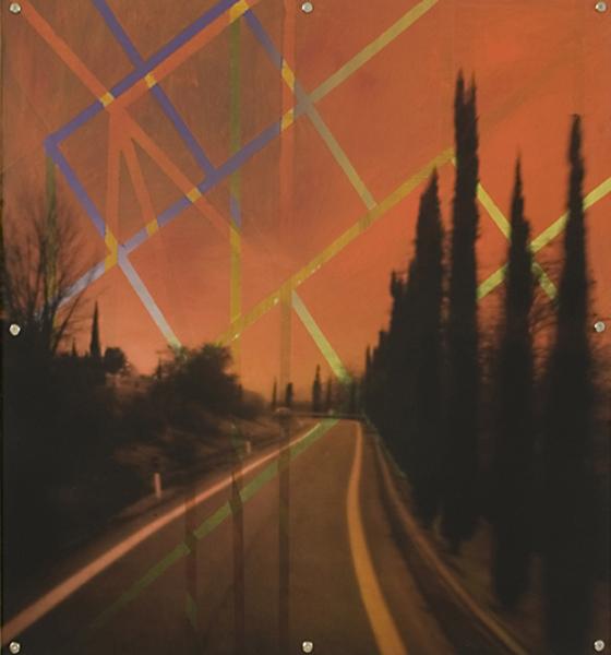"Mnemonic Structure 6 , oil paint on board and digital print on plexiglas, 42"" x 42"", 2008"