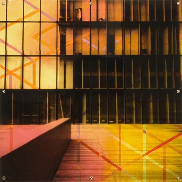 "Mnemonic Structure 13 , oil paint on board and digital print on plexiglas, 42"" x 42"", 2008"