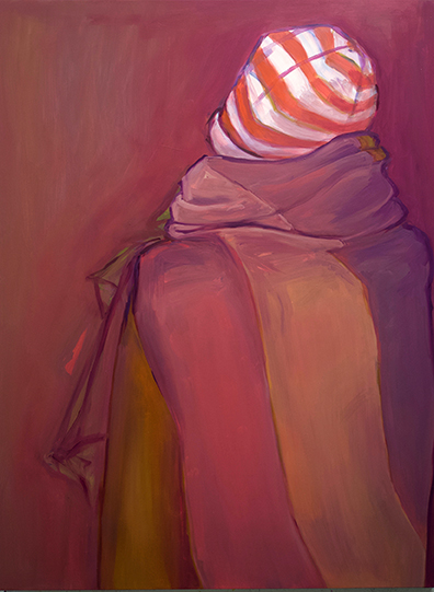 "The Cat in the Hat Does Winter, oil on board, 48"" x 36"", 2019"