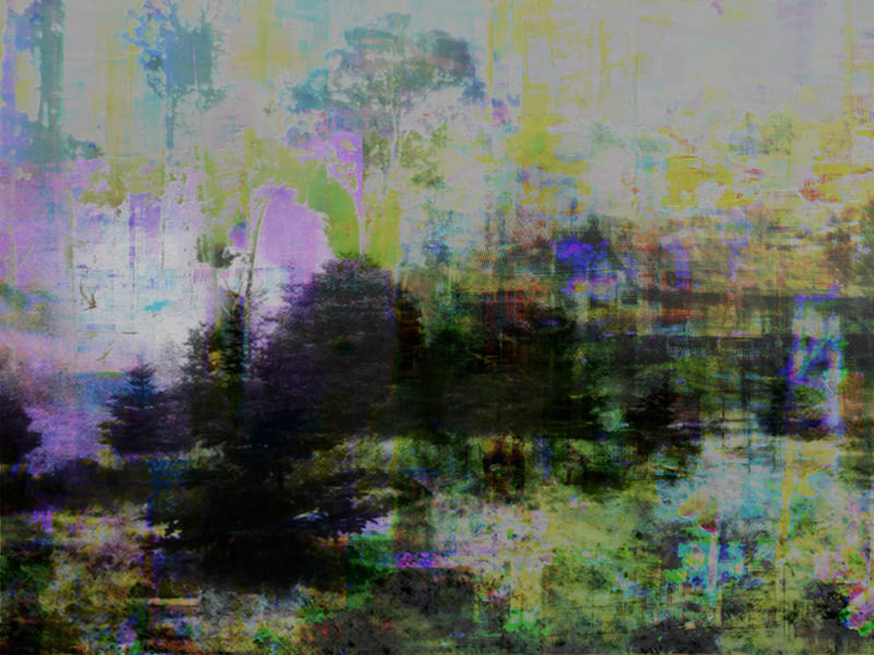 """Re: Development, New World, oil paint and archival ink on disband, 36"""" x 48"""", 2011"""