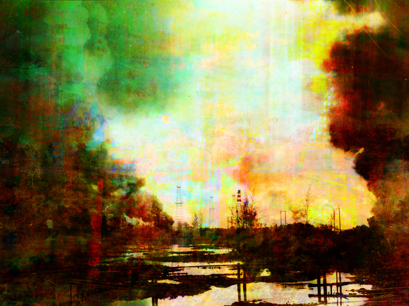 """Re: Development, Brunei Fires, oil paint and archival ink on disband, 36"""" x 48"""", 2011"""