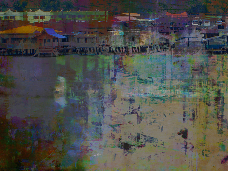 """Re: Development, Brunei Lost 2, oil paint and archival ink on disband, 36"""" x 48"""", 2011"""
