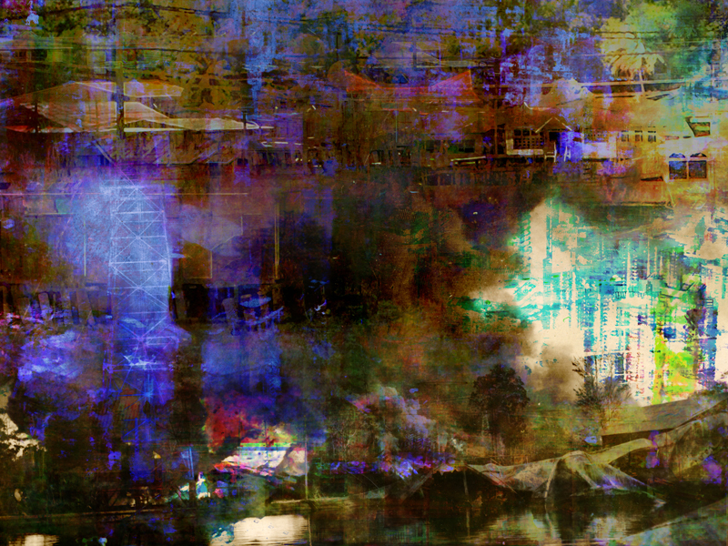"""Re: Development, Brunei Lost 4, oil paint and archival ink on dibond, 36"""" x 48"""", 2011"""