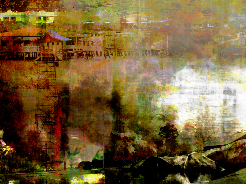 """Re: Development, Brunei Lost 5, oil paint and archival ink on dibond, 36"""" x 48"""", 2011"""