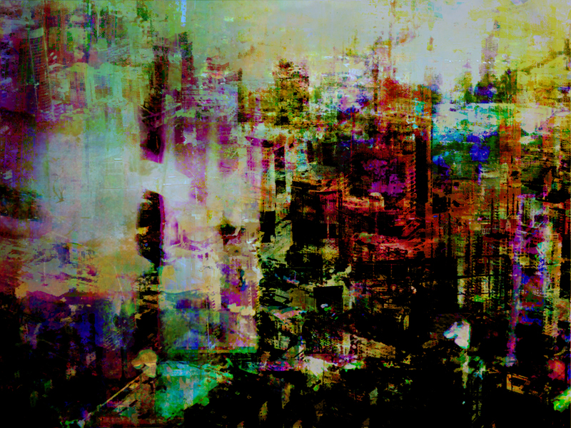 """Re: Development 4, oil paint and archival ink on dibond, 36"""" x 48"""", 2011"""