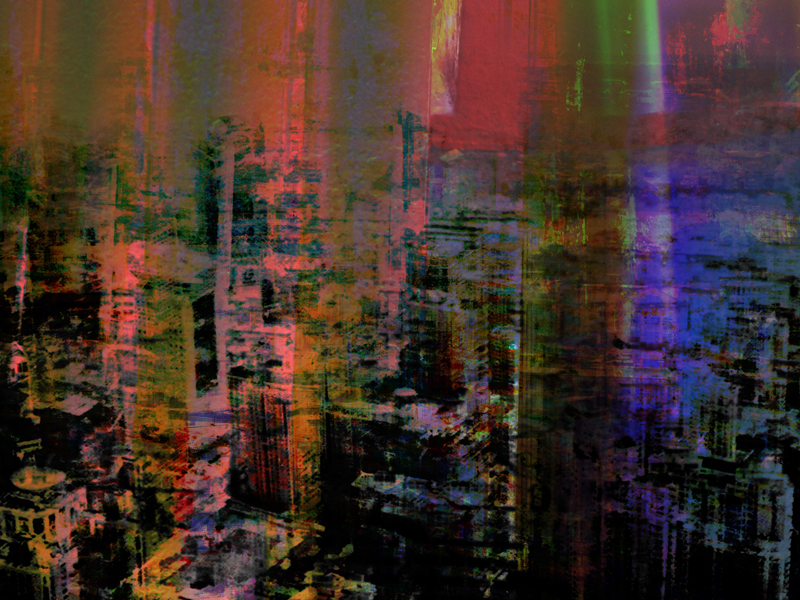 """Re: Development, Night, oil paint and archival ink on dibond, 36"""" x 48"""", 2011"""
