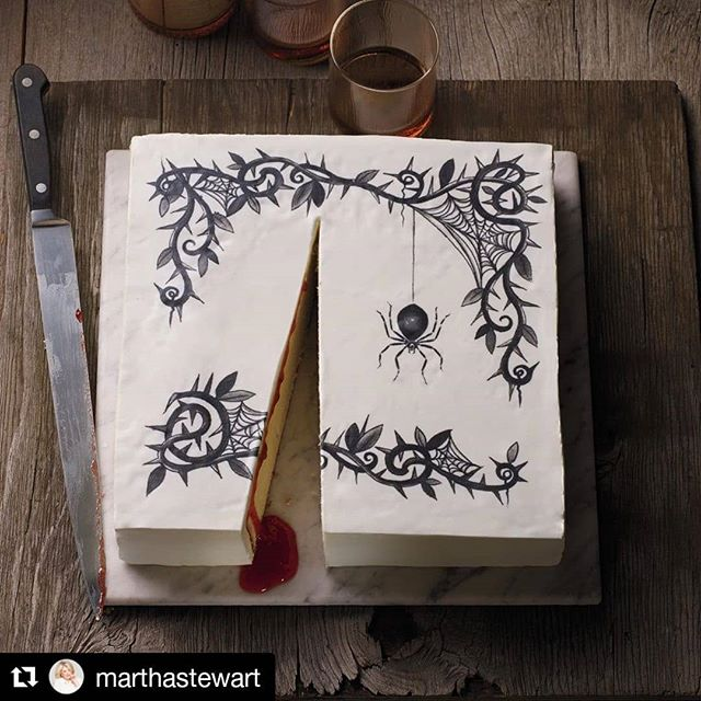 """This cake BLEEDS raspberry jam 😶  Are you kidding me?! I'm adding this one to my baking bucket list.  Are you trying anything new to celebrate this Hallowe'en?  I'd love to hear what you've got going on!  #Repost @marthastewart (@get_repost) ・・・ Candy may get top billing on Halloween, but cakes are just as worthy of this spooky holiday, as this beautifully haunting spider cake goes to show #fromthearchive of our October 2013 issue. Underneath a layer of fondant (with a stenciled spider design), lies a vanilla cake that """"bleeds"""" with raspberry jam. How's that for frighteningly sweet? Grab the full recipe and whip up this scary confection for your Halloween party. 📷: @anitacalerophotography"""