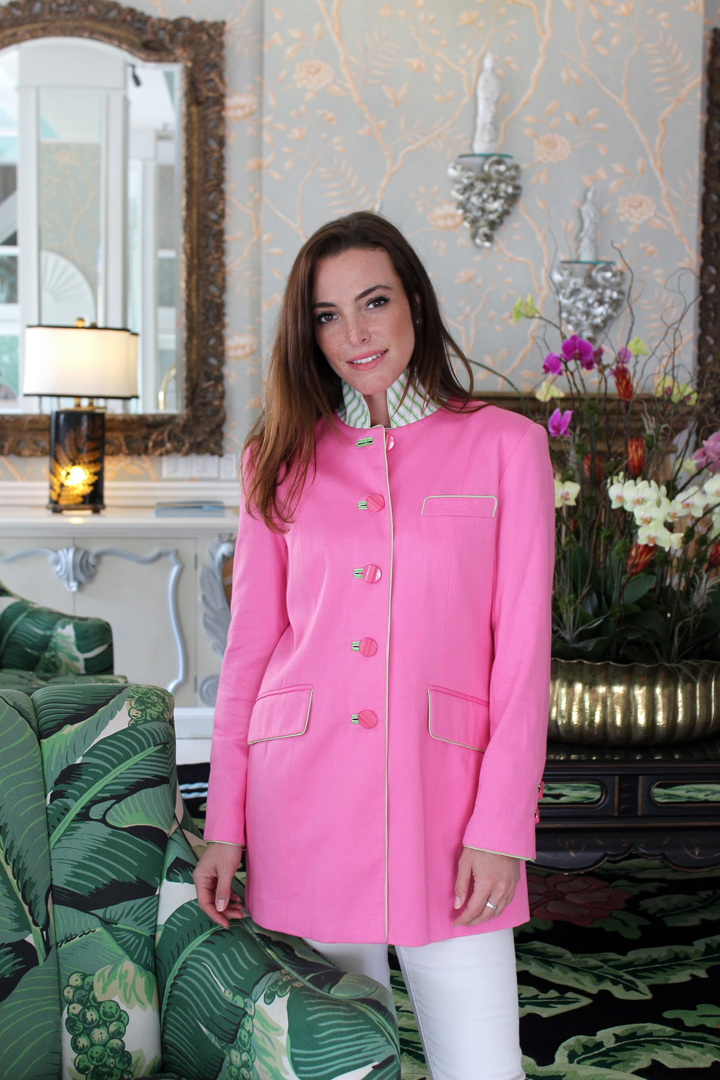 The pink Gianni Jacket is made from cotton poplin with green striped trim and lining. A striped green collar is complemented by signature piping and handmade button holes.Gianni Jacket