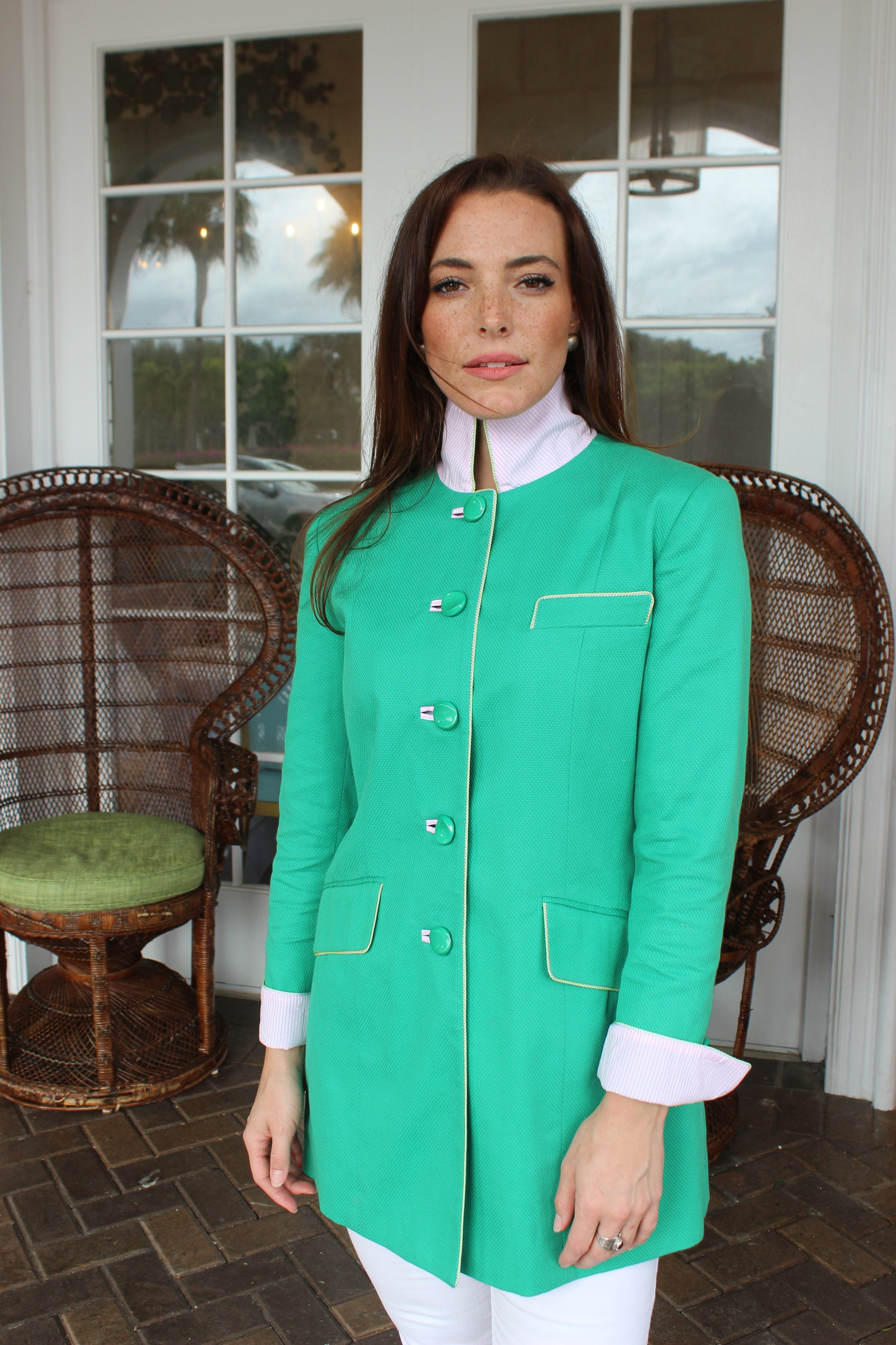 Gianni Jacket in Green Cotton Pique