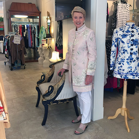 Kitty Davis in the Barga Jacket Sea Island, Georgia - Gramercy Atelier is always in style and made superbly! I can always count on Maria to have the best fabrics, the best fit, and most of all I feel comfortable wherever I go. Her clothes are fun and she is a true winner!