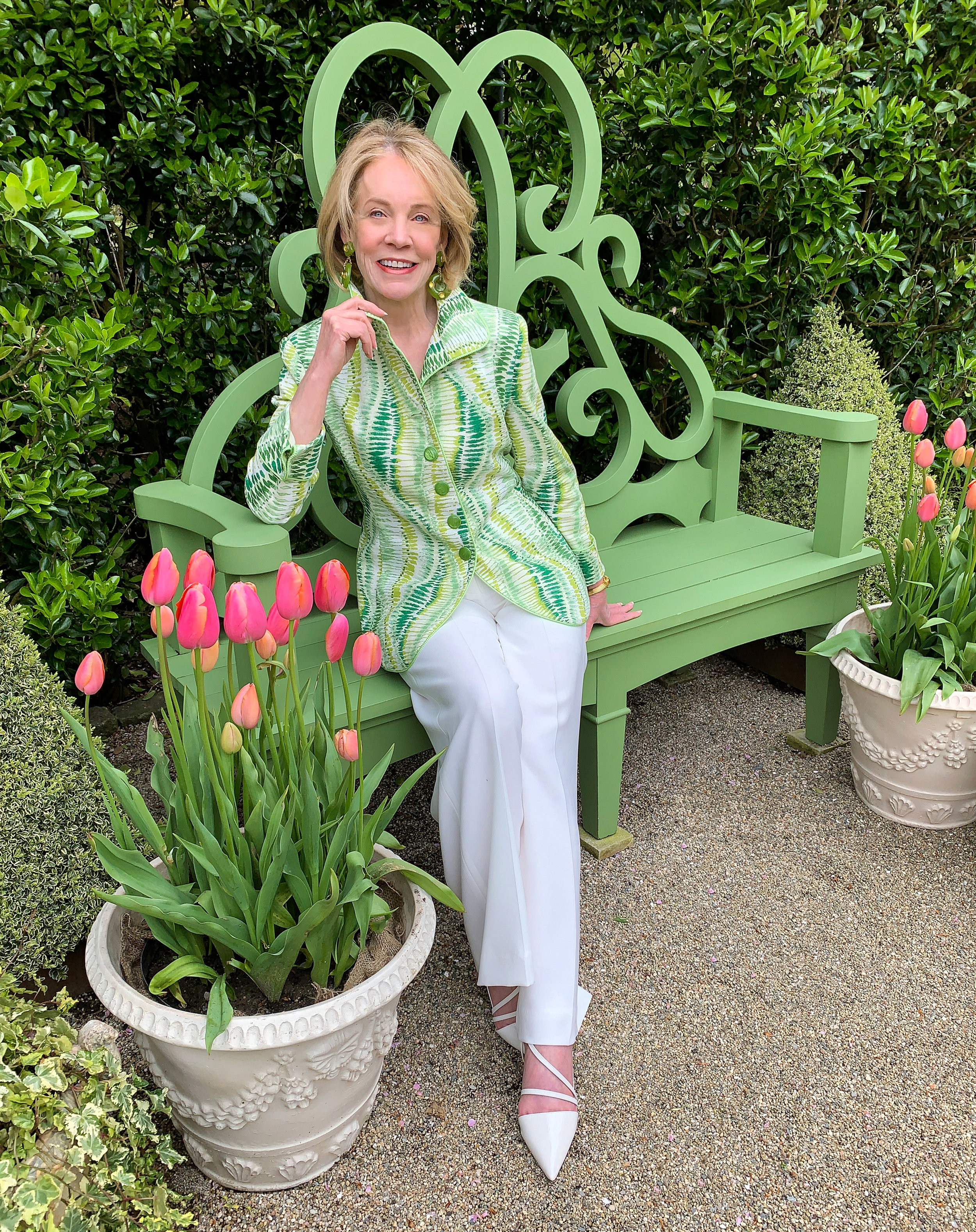 Bettie Bearden Pardee of Private Newport in her Charleston Jacket on the Parterre Bench