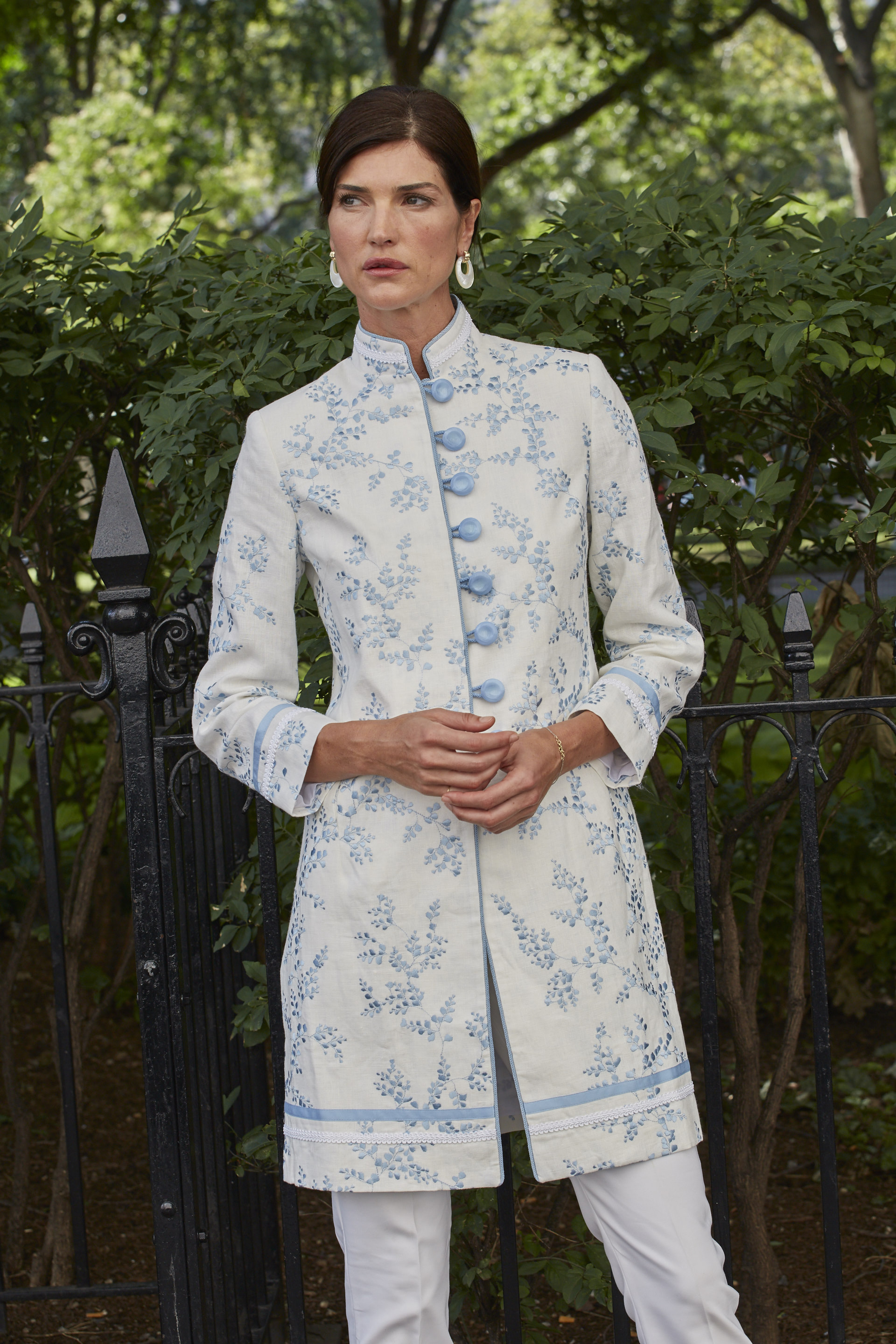 Barga Jacket in Shadow Fern Delft Linen with fashion buttons on a shank. Designer fabric available in 4 colorways (limited supply)  $1470