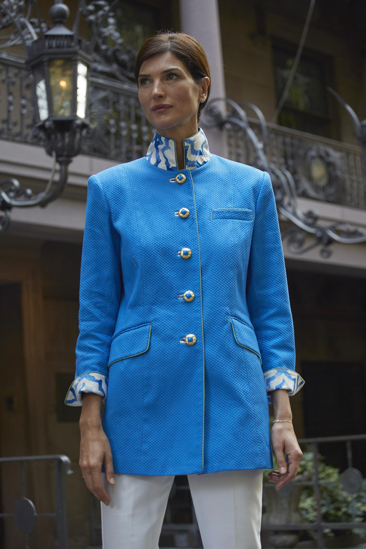 Gianni Jacket in Royal Blue Cotton Pique with trim detail in designer linen print  $1270