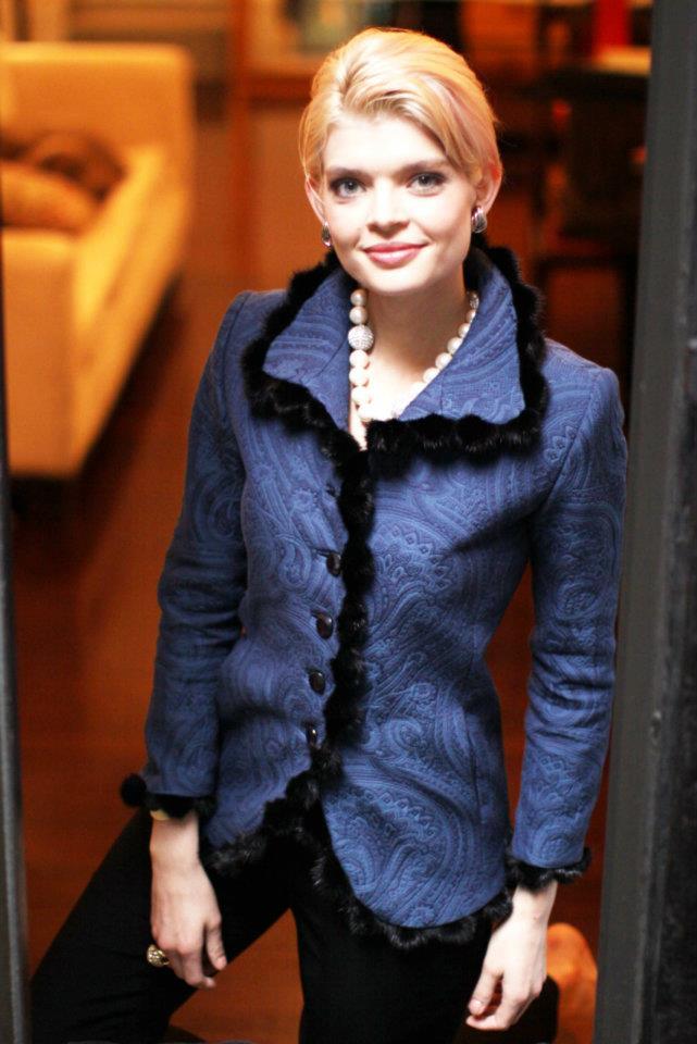 Charleston Jacket in Blue Matelasse w/black pom-pom fur trim  $1950 (without fur $1450)