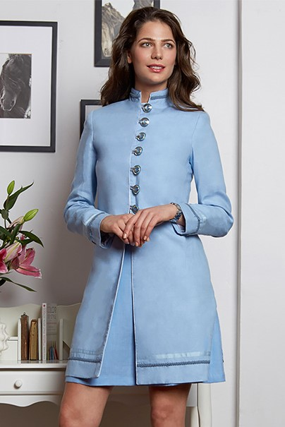 Barga Jacket in Cool Blue Linen with fashion buttons on a shank. (linen available in 70 colors)  $1070