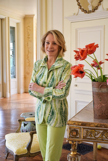 Charleston Jacket in Green Parterre with French Cuffs and Dye-to-Match buttons  $1299