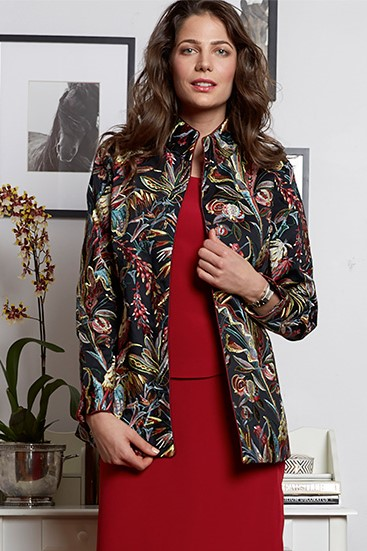 Marny Jacket in Designer Pierre Frey Brocade (shown with camisole and skirt in 4-ply silk)  $1450 Jacket $675 Skirt $525 Camisole