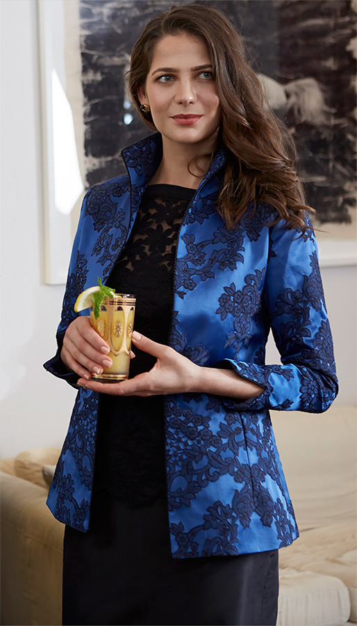 Marny Jacket in Designer Blue Macarena shown with Flower Lace Camisole  $1699 Jacket $625 Lace Camisole