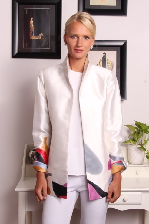Marny Jacket in Hand Painted Silk (made with custom chosen colors and shapes)  $1950