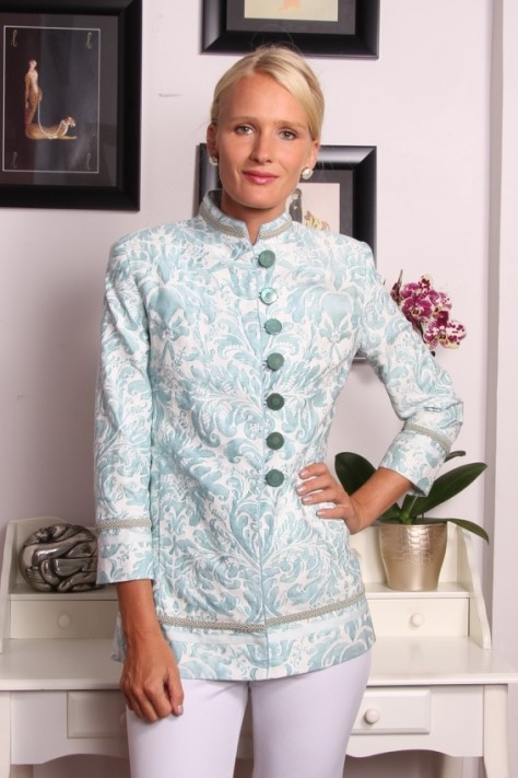 Barga Jacket in Fortuny Sevres with matching sea foam braid, white tape and sea foam piping  $3250