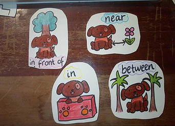 Powerful Prepositions - Pesky prepositions are hard to avoid! I've managed to turn them into a fun warm up using my good little doggo. These cards are very handy in identifying prepositions and sentence building.I simply ask the student