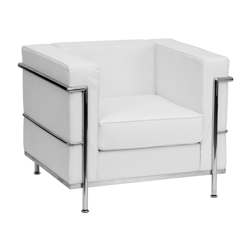 This white leather lounge chair will set the perfect tone for your guests.