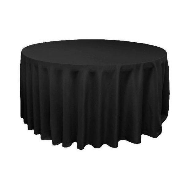 Dress your table up with this high-quality, round black poly table linen.