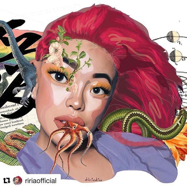 #Art @ririaofficial ・・・ Guess who's back?! Miss me?🙈 My first post after 7months is a collab with amazing portrait reconstruction artist @duhrivative🤡 Enjoy getting inside of my 🧠 2/3 • • • #artinspiresyou #aiystudio #collageart #collageartist #design #designer #graphicdesign #modernart #astroworld #handmade #cutandpaste #art #flower #mixedmedia #collageartwork #surrealismartcommunity #surrealart #pinkhair #riria #guccigang #japanese #retroart #digitalcollage #weirdart #pulpart #psychedelic #psychedelicart #graphicdesigner