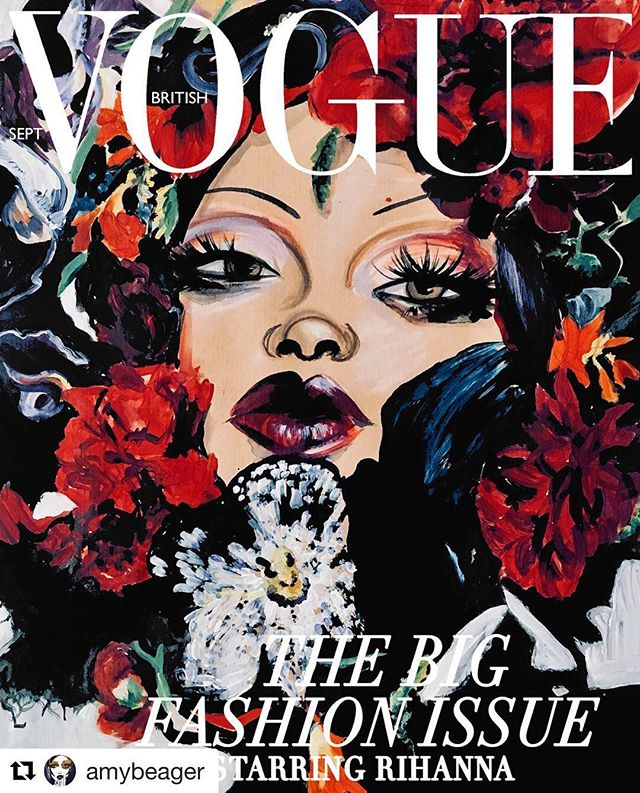 #Art @amybeager ・・・ BRITISH VOGUE | @edward_enninful First September Issue Featuring @badgalriri ♥️🥀🌺🌹🌸 Another amazing cover! Subscribers edition @britishvogue Cover, Illustration by me #newvogue dress by @loewe flower artistry by @azumamakoto makeup by @isamayaffrench  X @fentybeauty photography @nick_knight ♥️♥️♥️ .. .. ⚡️ BRITISH VOGUE ⚡️ RIHANNA ⚡️ Fashion Illustration Flash Mob 🌹 DIVERSE BEAUTY, DIVERSE STYLE, UNIQUE FASHION ILLUSTRATIONS #theUNIQUEillustration #theUNIQUEillustrationBRITISHVOGUERIHANNA #artinspiresyou #aiystudio