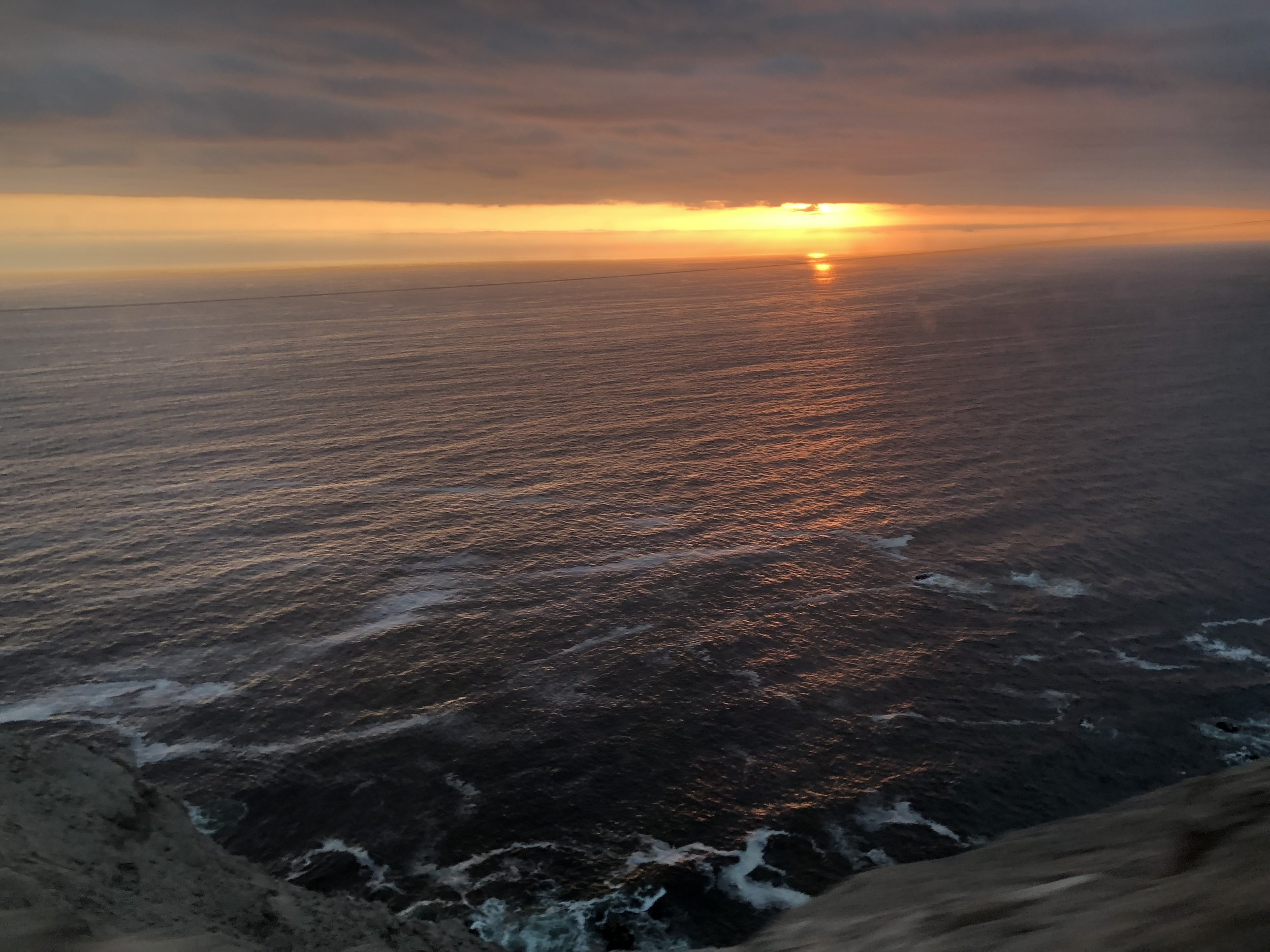The dangerous cliffside provided an excellent view of the sunset.