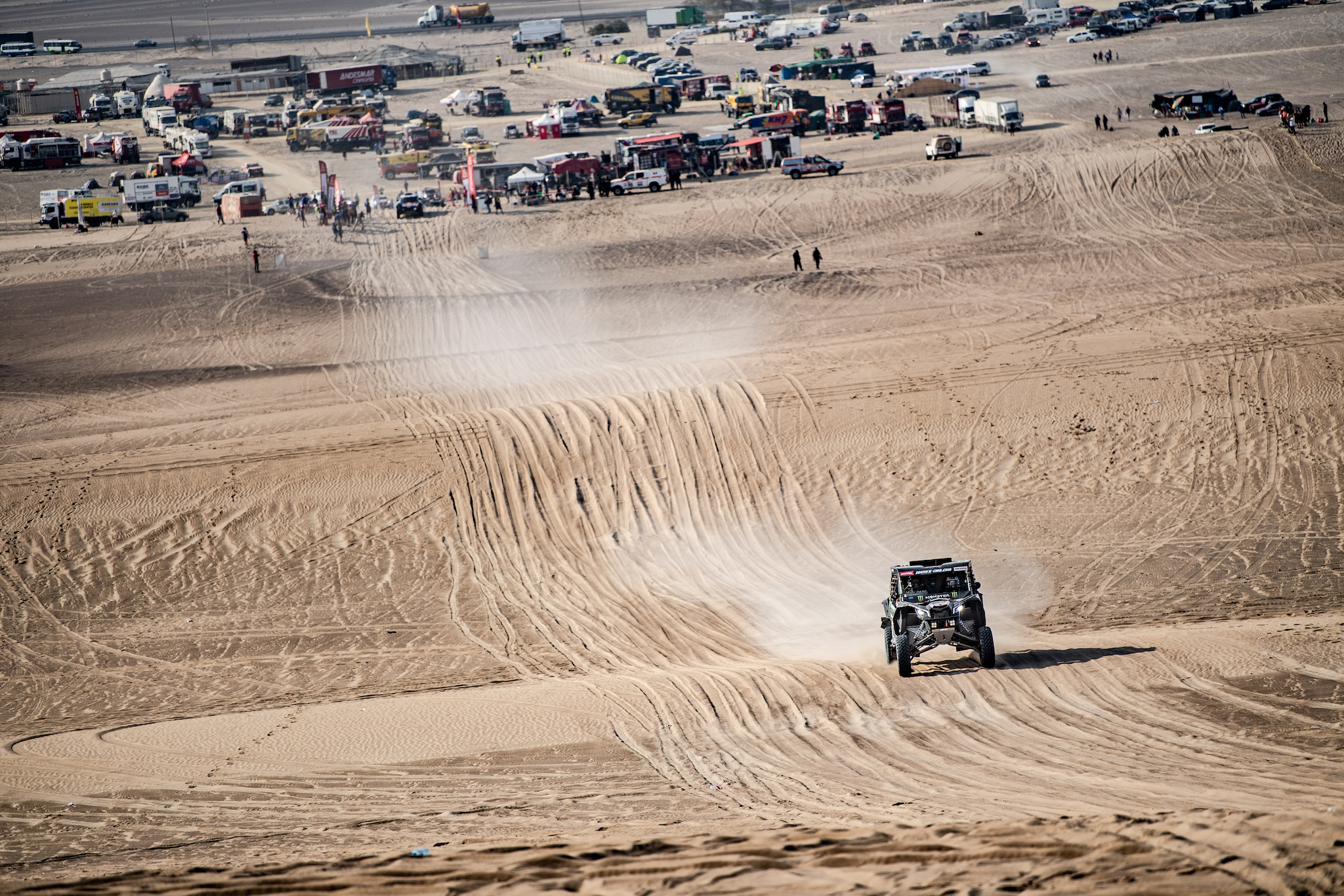 Casey takes off on the final stage of the Dakar rally.