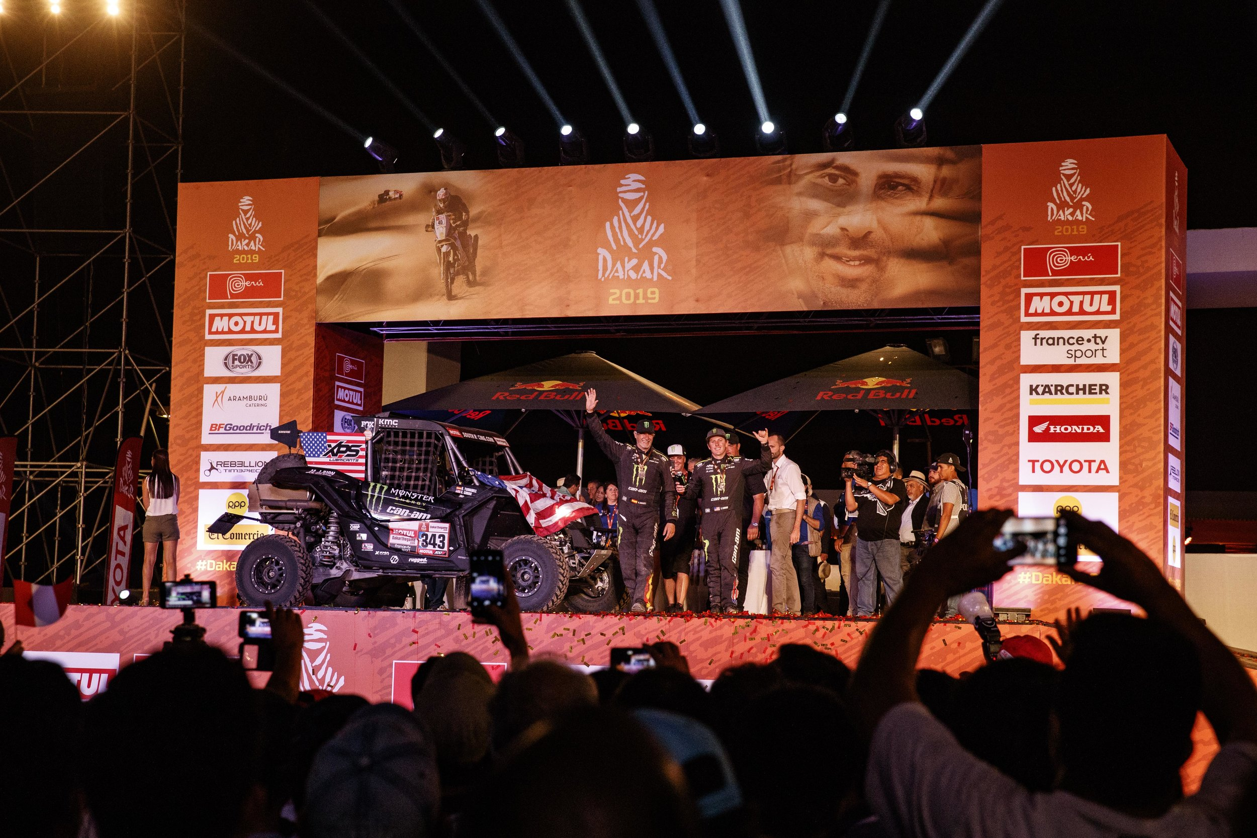 Finally atop the podium and the Dakar rally is complete.