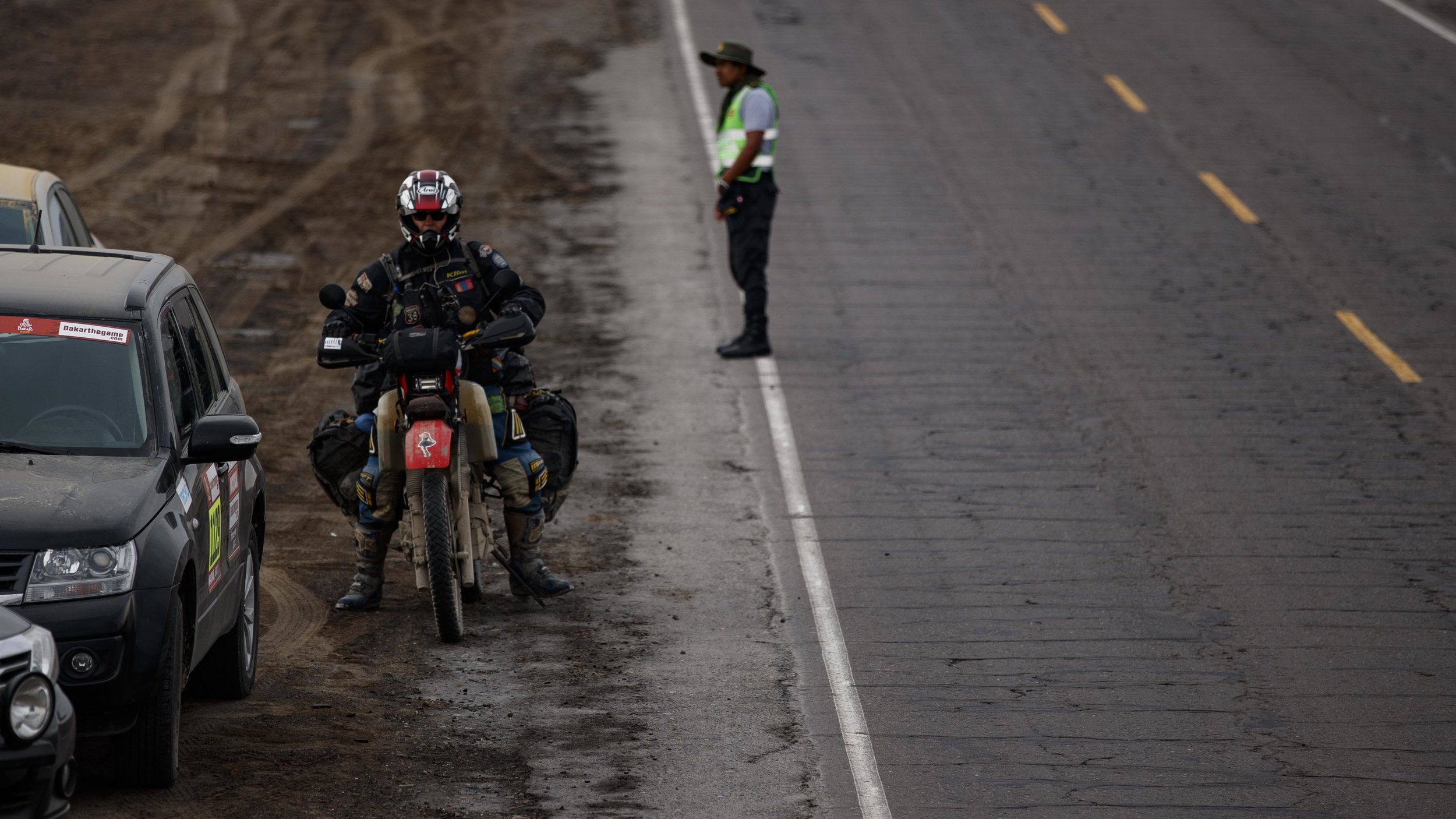 This biker looked like he was ready to solo the entire Dakar Rally with all of the gear he packed on his bike.