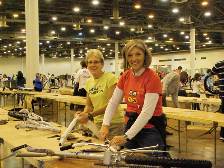 Yours truly and Lisa Bidelspach of Step-One building bikes