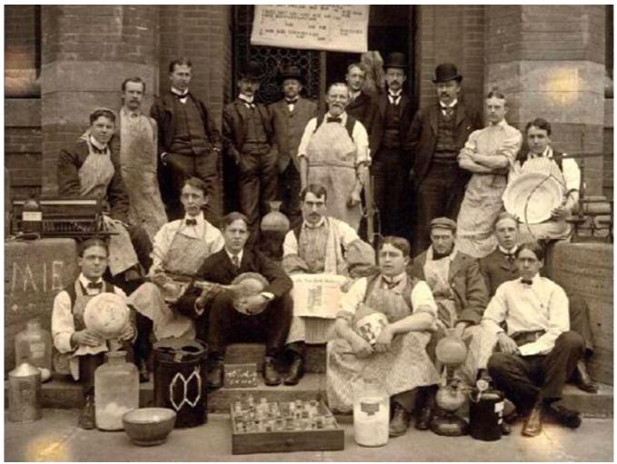 Sheffield Scientific School Chemistry Class,1898. currently Yale University, 310 Prospect Street, New Haven, Ct.  Treat Baldwin Johnson is seated center, holding a copy of The New York Voice.