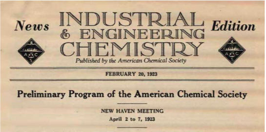 Preliminary Program of the ACS NH Meeting, April 1923