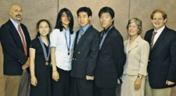 2008 - Members of the U.S. team pose with their mentors after the awards ceremony. From left to right are Will Lynch,    Lu   , Xie, Liu, Lee, Pezzi, and J. L. Kiappes.