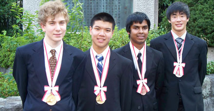 2010 - Siegenfeld (from left), Lu, Sikder, and Li celebrate their achievements