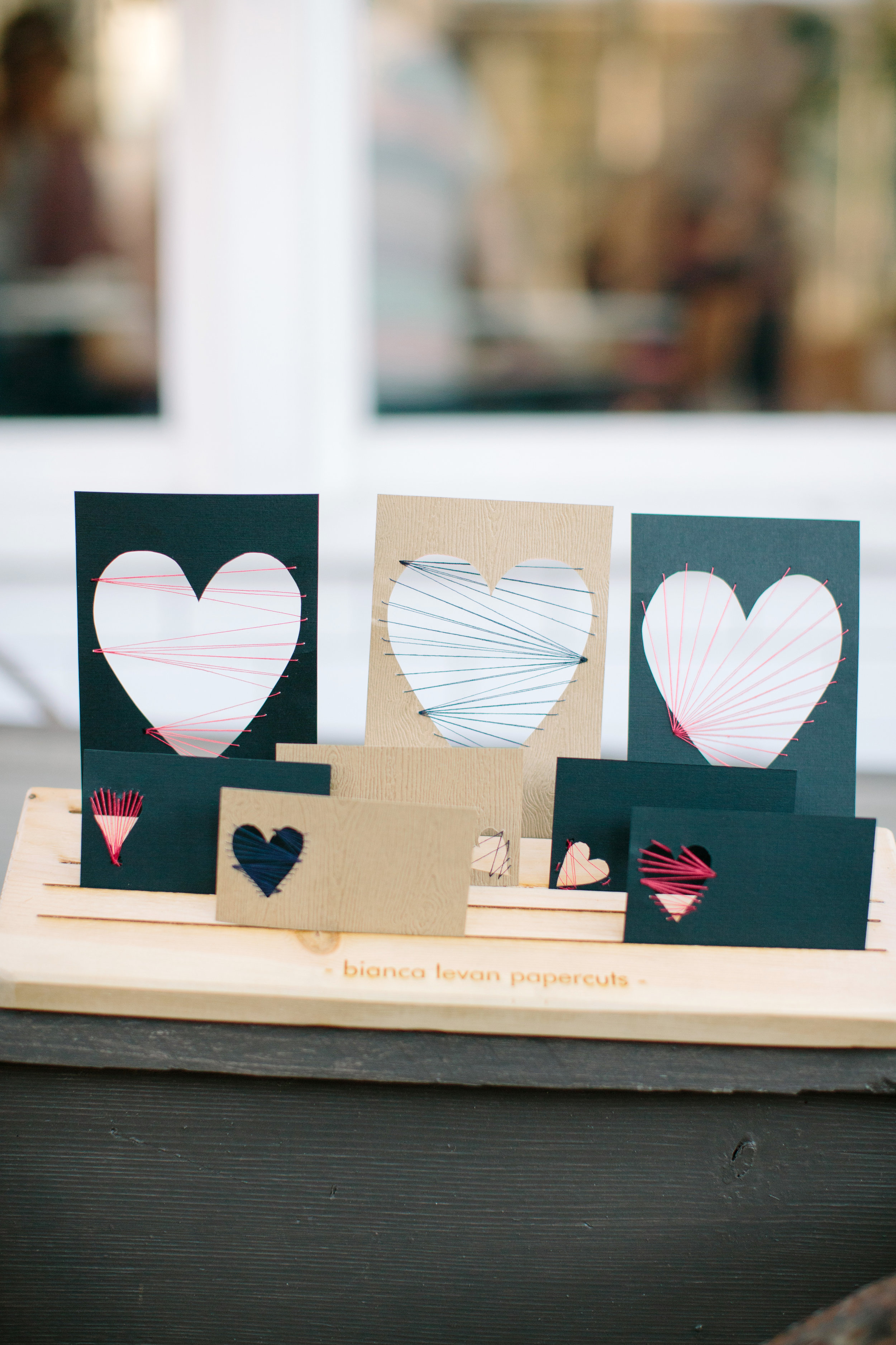 Valentine's Day cards - papercut and thread