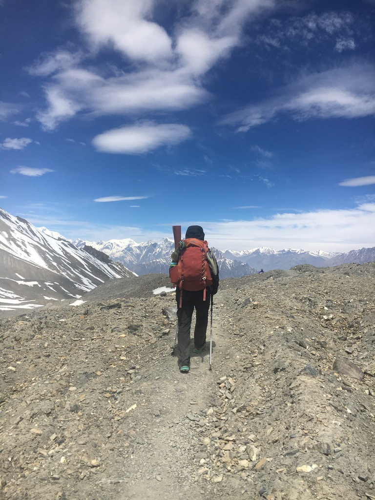 Mia hiking towards Muktinath