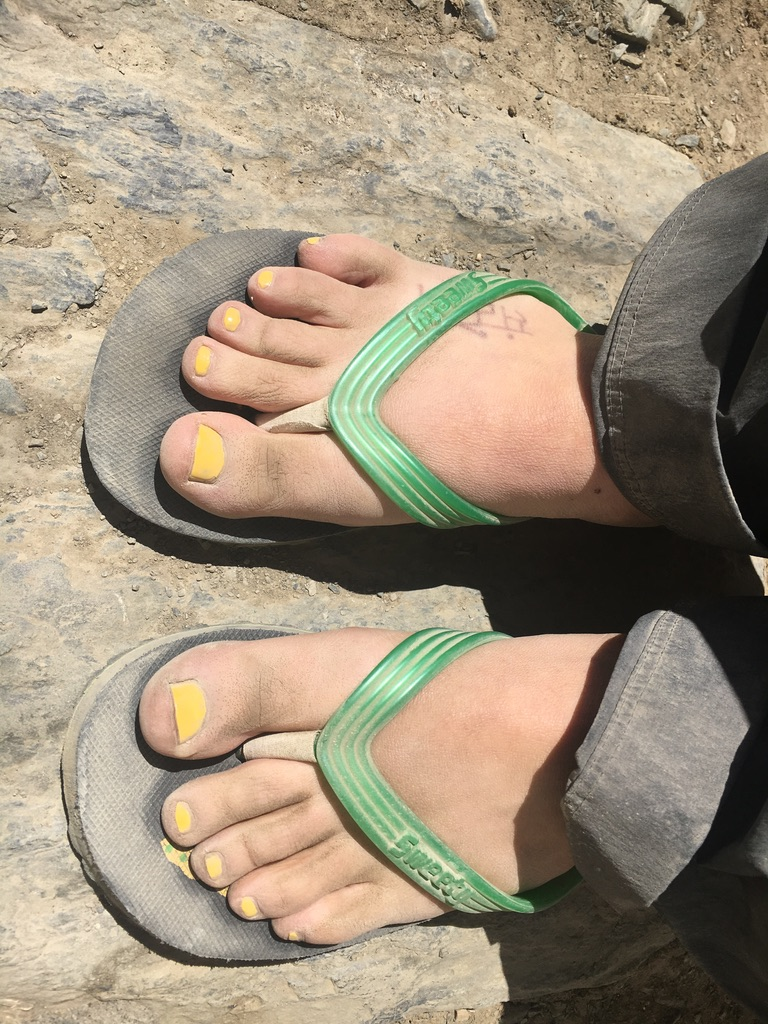 Flip Flop Girl after hiking to High Camp