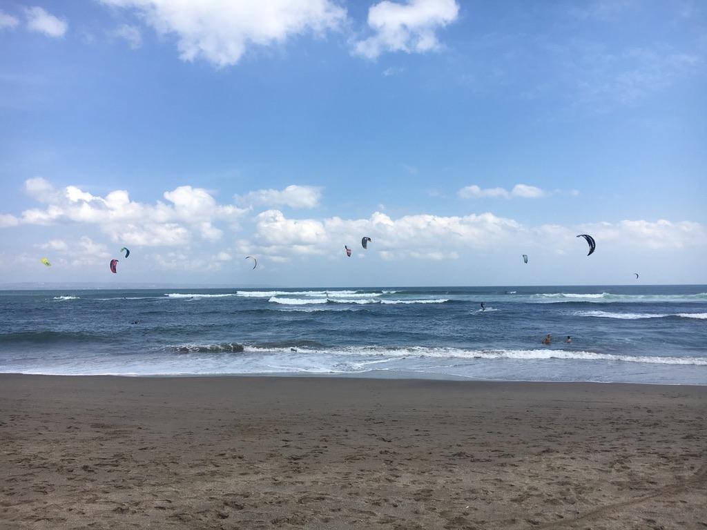 Kite surfers in Canggu