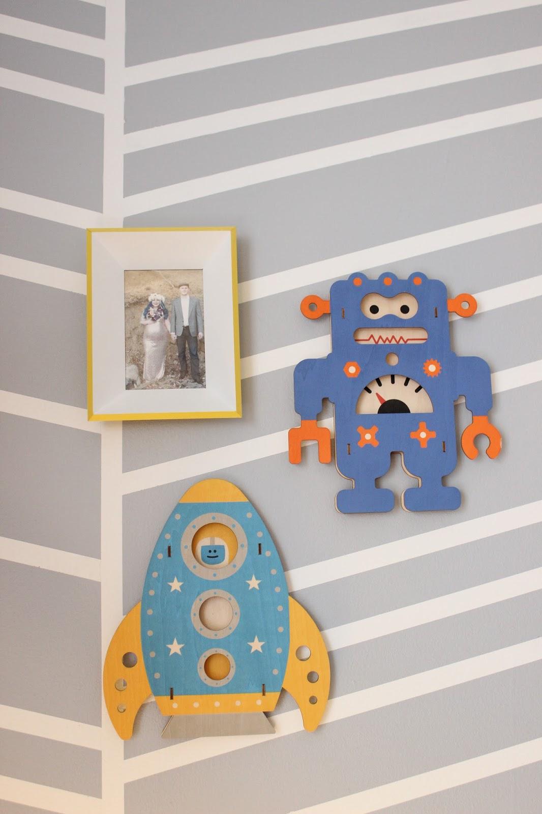 Frame:  Ikea (discontinued)   Robot & Rocket:  Target (discontinued)