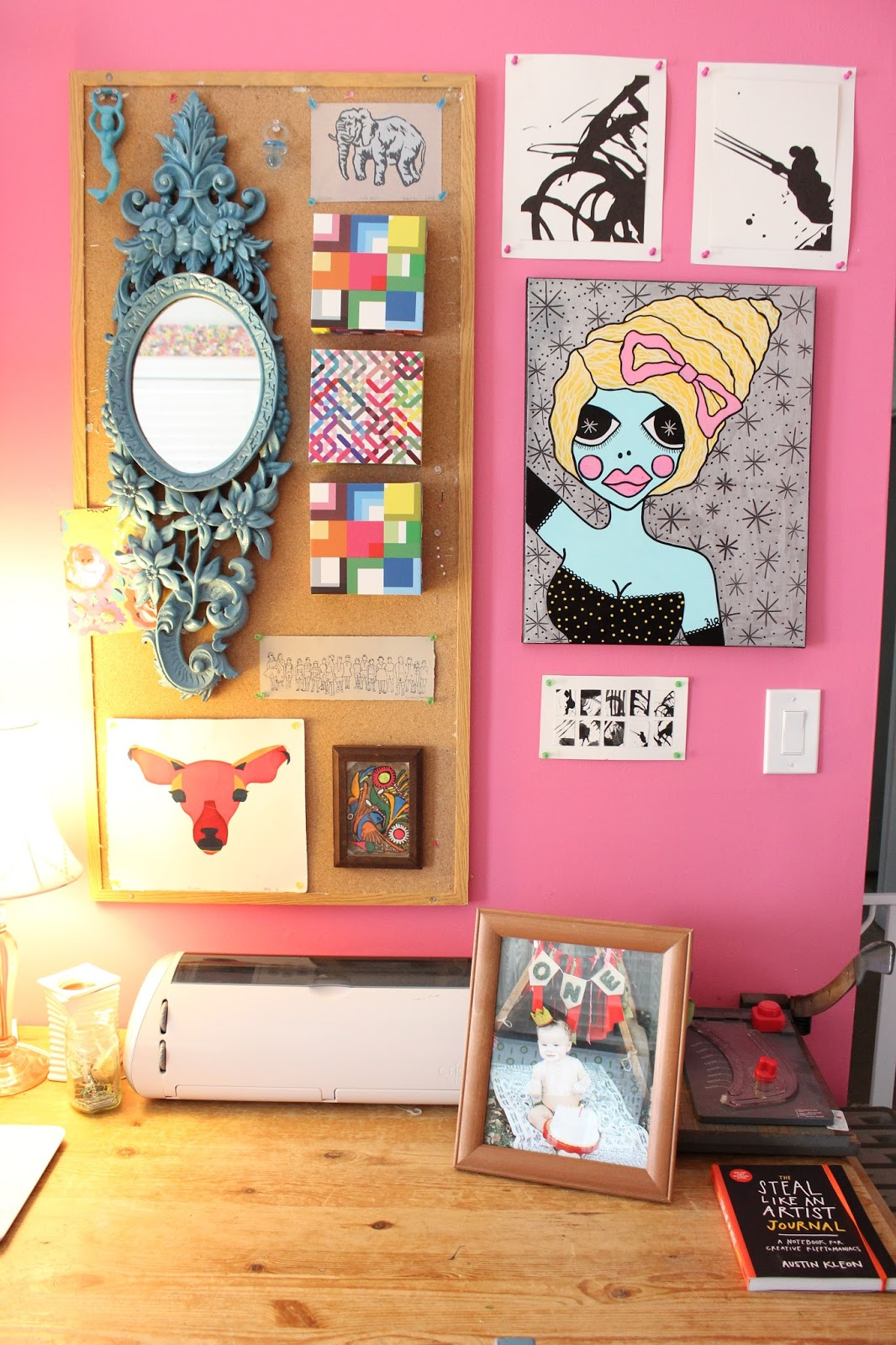 Most of the art here is by me or other artists but the three rainbow boxes are from Ikea.  Woman Portrait is by  Little Punk People
