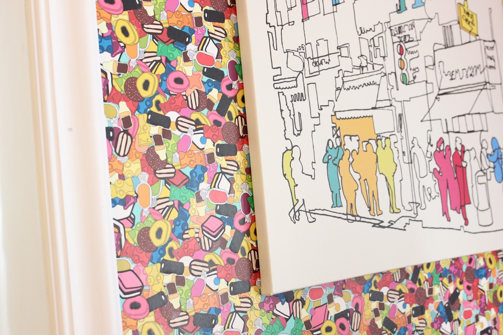 Candy Wallpaper:  Sugar Sugar by Scrummy via Spoonflower   Art is from Ikea (no longer available)