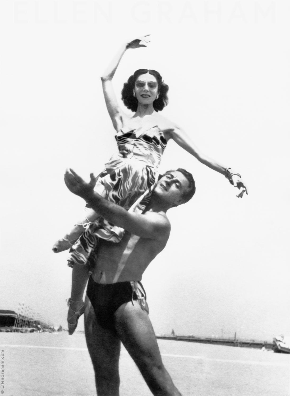 Anton Dolin, Alicia Markova, Venice Lido, Italy, 1959