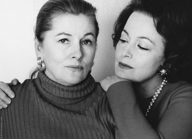 Joan Fontaine, Olivia de Havilland, Beverly Hills, CA, 1972