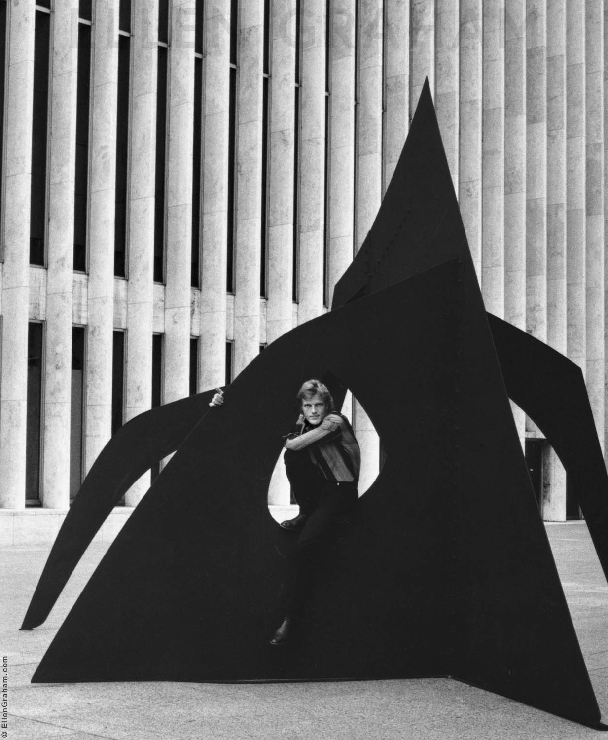 Peter Martins, With Alexander Calder Sculpture, Lincoln Center, New York, NY, 1983