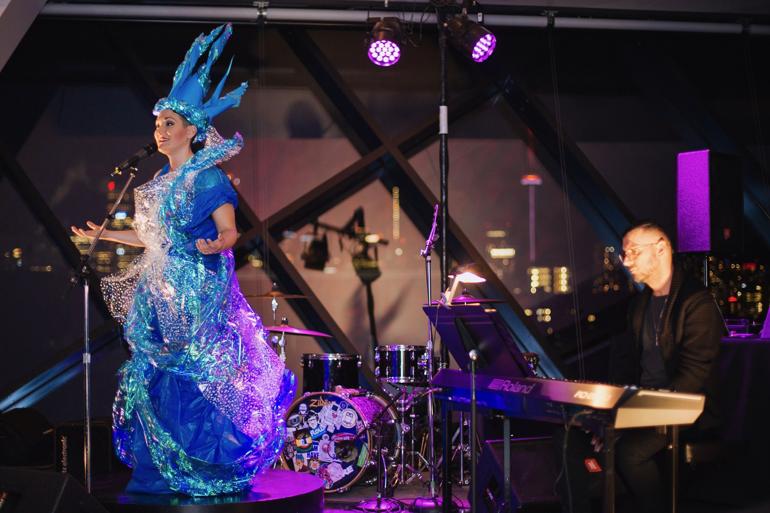 ROM's Friday Night Live: Teiya Kasahara in their solo show  The Queen in Me  with David Eliakis on the piano, Nov 2018. Photo credit: Catherine Wilcox.